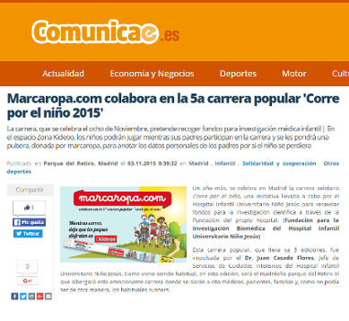 """Marcaropa.com collaborates on the 5th popular race """"Run for the child 2015."""""""
