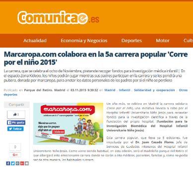 """Marcaropa.com colabora en la 5ª carrera popular """"Corre por el niño 2015"""""""