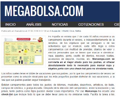 Nouvelles Marcaropa imagenListado megabolsa