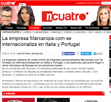 The company Marcaropa.com is internationalized in Italy and Portugal